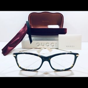 Gucci Women's Eyeglasses Havana Brown w/ Gold New